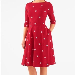 eShakti heart print scoop neck dress Sz M